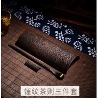 一铜家居 锤纹铜茶则 纯铜手工制作铜茶针铜茶荷