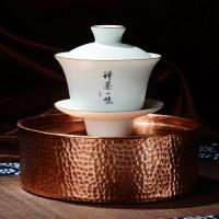 一铜家居 锤纹铜茶盘 潮汕工夫铜茶具 纯铜手工制作铜建水