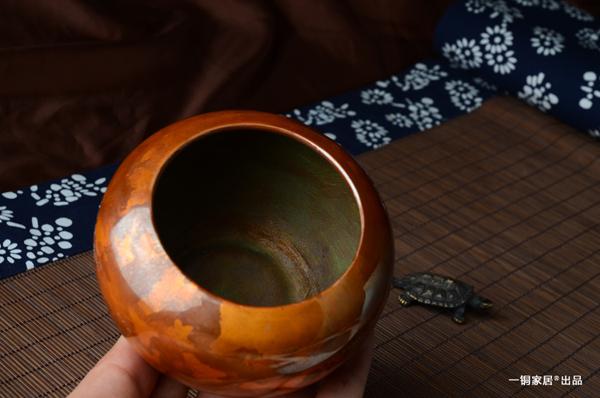 斑铜建水 日本茶道茶具