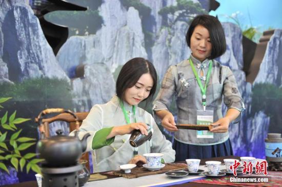 """5月18日,两名茶艺师正在展示""""功夫泡茶""""。当天,首届中国国际茶叶博览会在浙江杭州国际博览中心拉开帷幕。此次展会吸引了48个国家和地区的参展商、20个茶叶主产省份的茶企代表以及1700余家国内外专业客商报名参展。中新社记者 张茵 摄"""